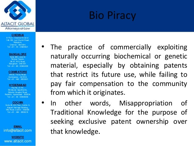 Bio piracy and protection of traditional knowledge Slide 2