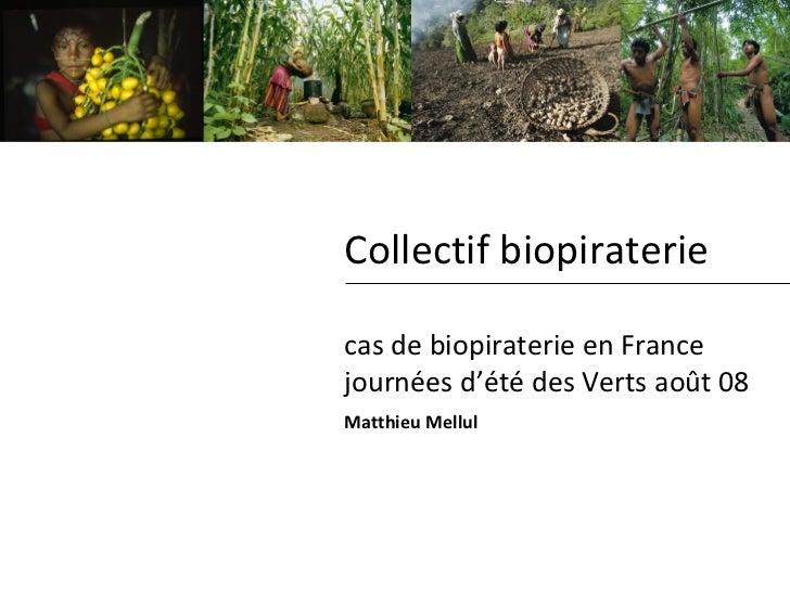 Collectif biopiraterie cas de biopiraterie en France journées d'été des Verts août 08 Matthieu Mellul