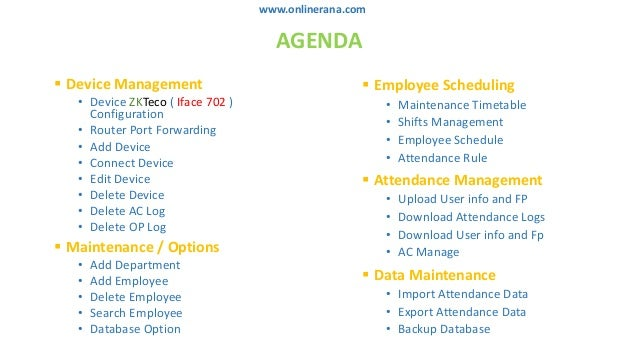 zkteco attendance management software training