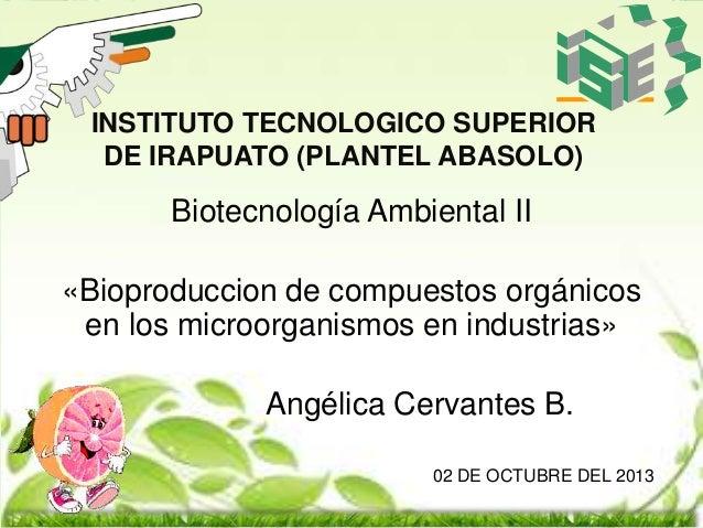 INSTITUTO TECNOLOGICO SUPERIOR DE IRAPUATO (PLANTEL ABASOLO)  Biotecnología Ambiental II «Bioproduccion de compuestos orgá...