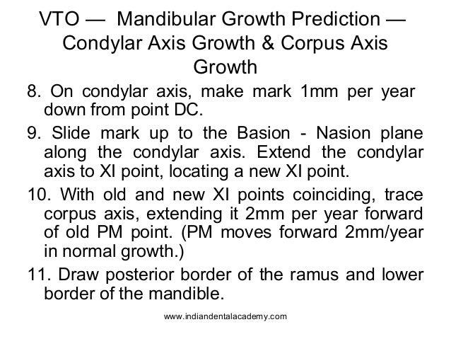 VTO — Mandibular Growth Prediction — Condylar Axis Growth & Corpus Axis Growth 8. On condylar axis, make mark 1mm per year...