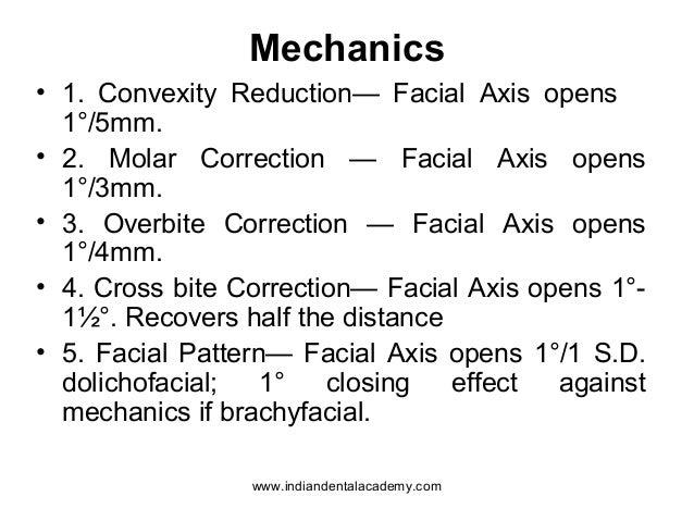 Mechanics • 1. Convexity Reduction— Facial Axis opens 1°/5mm. • 2. Molar Correction — Facial Axis opens 1°/3mm. • 3. Overb...