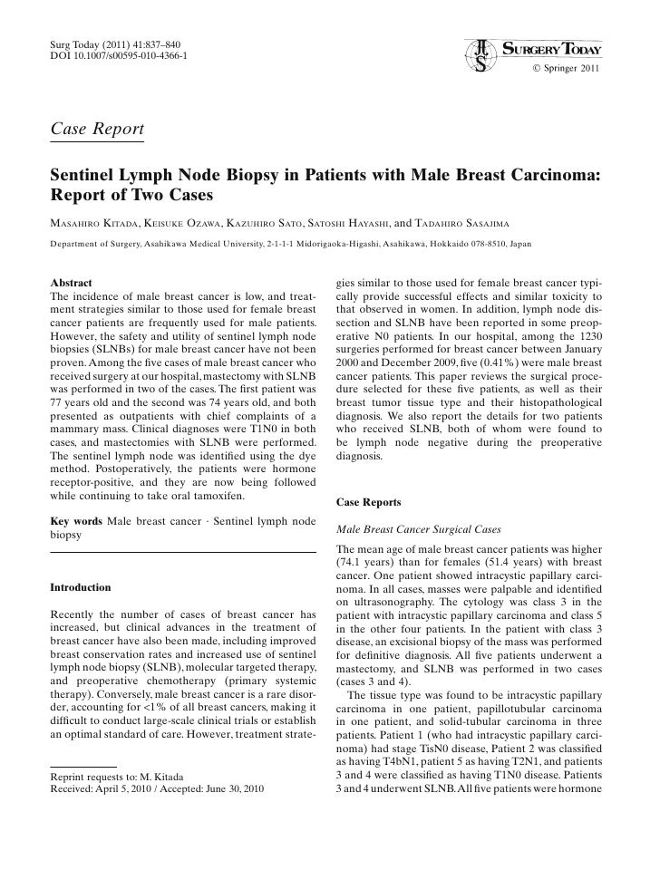 Surg Today (2011) 41:837–840DOI 10.1007/s00595-010-4366-1Case ReportSentinel Lymph Node Biopsy in Patients with Male Breas...