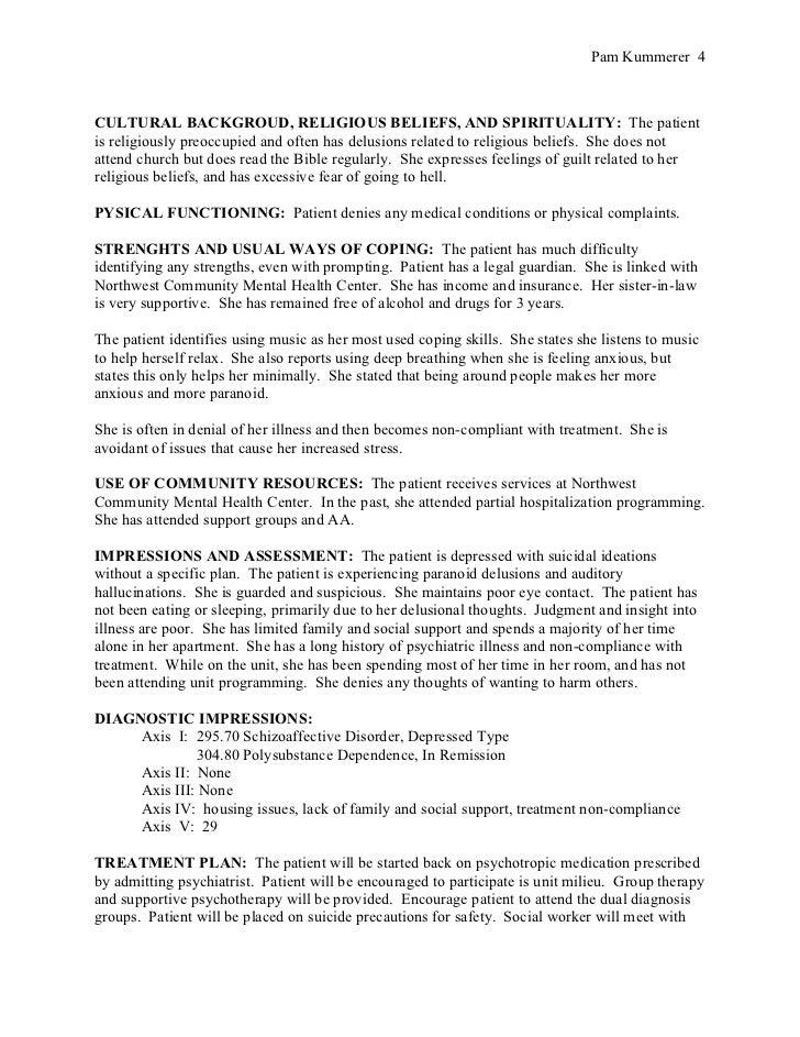 Biopsychosocial assessment no identifiers