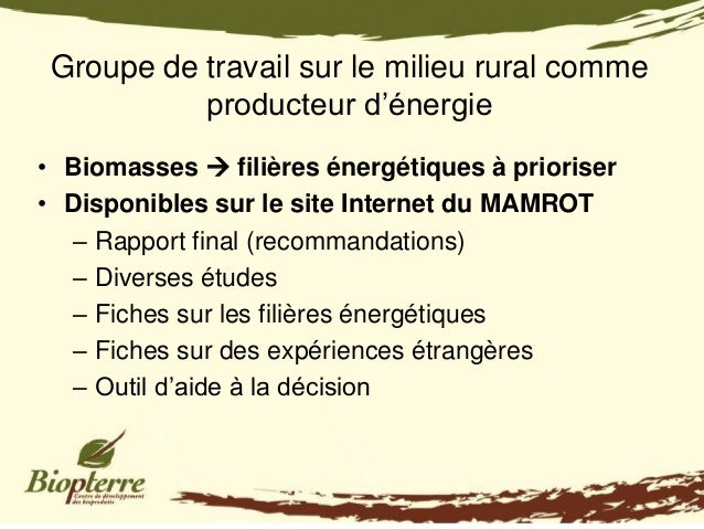 Groupe de travail sur le milieu rural comme           producteur d'énergie• Biomasses  filières énergétiques à prioriser•...