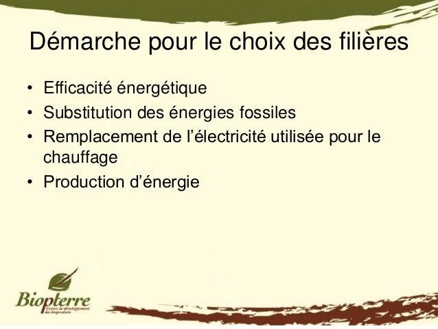 Démarche pour le choix des filières• Efficacité énergétique• Substitution des énergies fossiles• Remplacement de l'électri...