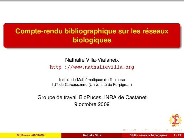 Compte-rendu bibliographique sur les réseaux biologiques