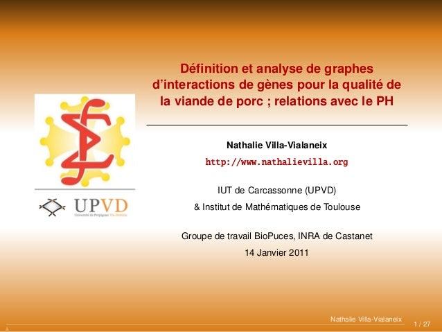 Définition et analyse de graphes d'interactions de gènes pour la qualité de la viande de porc ; relations avec le PH Nathal...