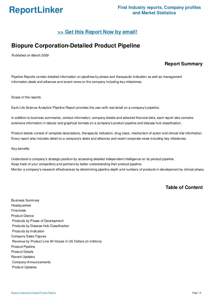 Biopure Corporation-Detailed Product Pipeline