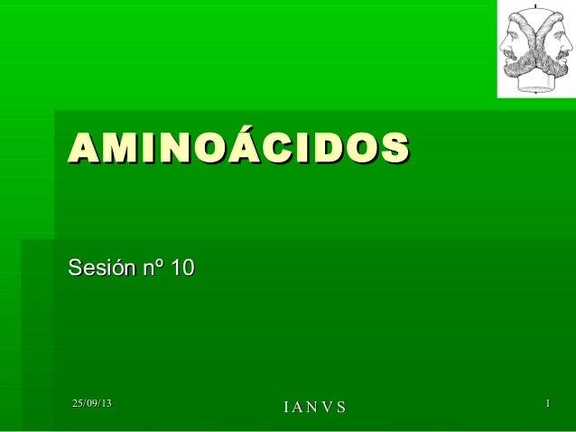 25/09/1325/09/13 I A N V SI A N V S 11 AMINOÁCIDOSAMINOÁCIDOS Sesión nº 10Sesión nº 10