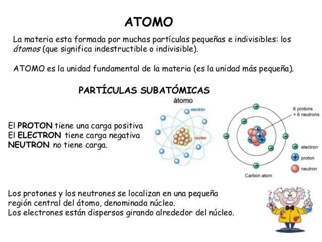 ATOMO La materia esta formada por muchas partículas pequeñas e indivisibles: los átomos (que significa indestructible o in...