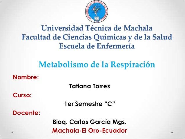 Universidad Técnica de Machala Facultad de Ciencias Químicas y de la Salud Escuela de Enfermería  Metabolismo de la Respir...