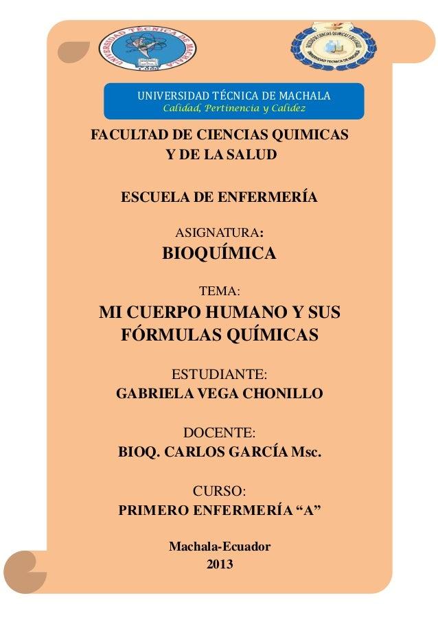 UNIVERSIDAD TÉCNICA DE MACHALA Calidad, Pertinencia y Calidez  FACULTAD DE CIENCIAS QUIMICAS Y DE LA SALUD ESCUELA DE ENFE...