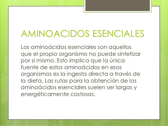 AMINOACIDOS ESENCIALESLos aminoácidos esenciales son aquellosque el propio organismo no puede sintetizarpor sí mismo. Esto...