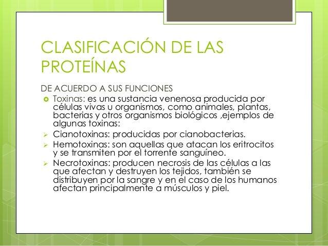 CLASIFICACIÓN DE LASPROTEÍNASDE ACUERDO A SUS FUNCIONES Toxinas: es una sustancia venenosa producida por   células vivas ...
