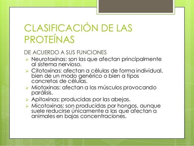 CLASIFICACIÓN DE LASPROTEÍNASDE ACUERDO A SUS FUNCIONES Neurotoxinas: son las que afectan principalmente  al sistema nerv...