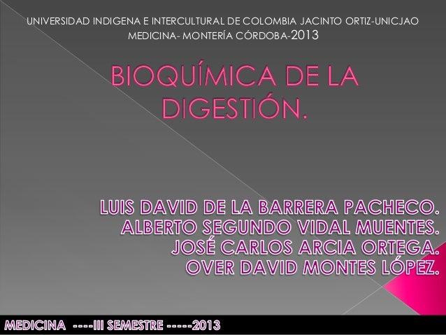 UNIVERSIDAD INDIGENA E INTERCULTURAL DE COLOMBIA JACINTO ORTIZ-UNICJAO MEDICINA- MONTERÍA CÓRDOBA-2013
