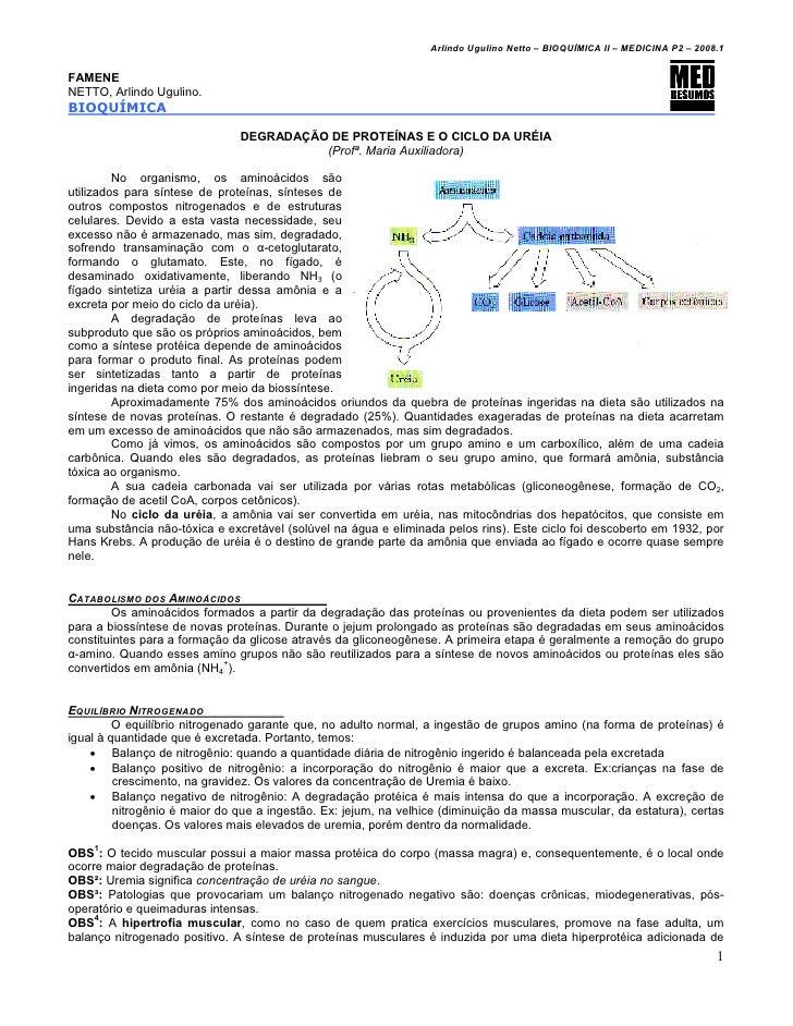Arlindo Ugulino Netto – BIOQUÍMICA II – MEDICINA P2 – 2008.1FAMENENETTO, Arlindo Ugulino.BIOQUÍMICA                       ...