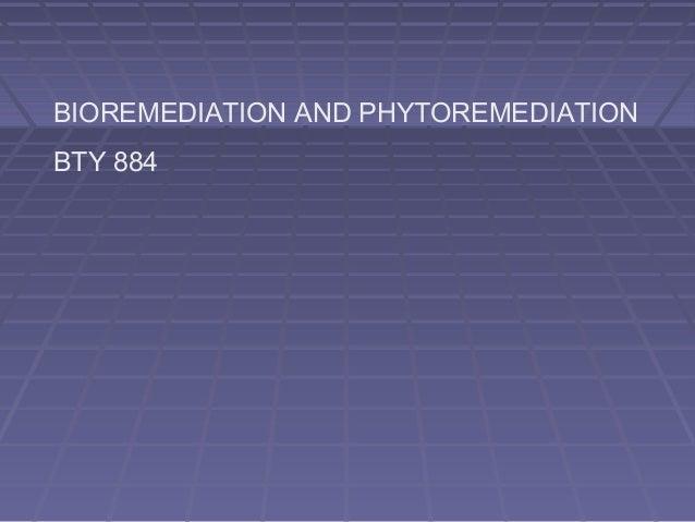 BIOREMEDIATION AND PHYTOREMEDIATION BTY 884