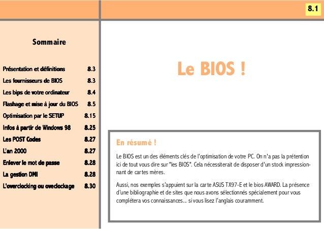 8.1            SommairePrésentation et définitionsLes four nisseur s de BIOS    fournisseurs     ournisseur               ...