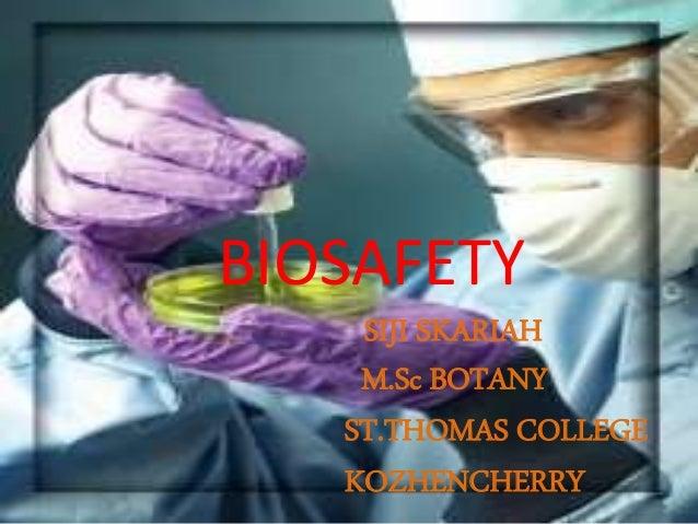 BIOSAFETY SIJI SKARIAH M.Sc BOTANY ST.THOMAS COLLEGE KOZHENCHERRY