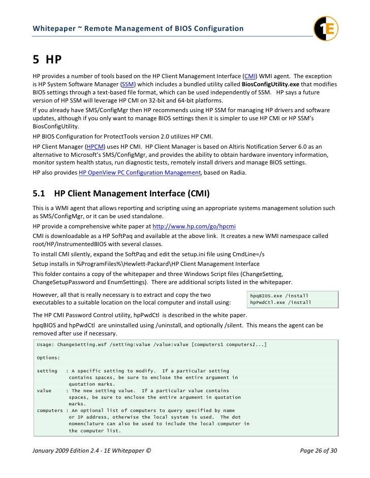Bios configuration management