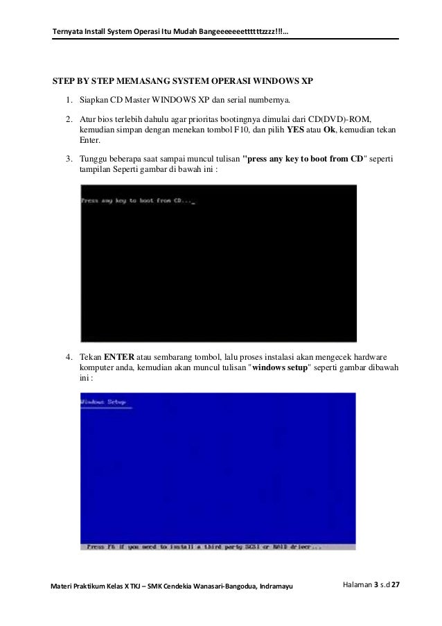 Bios Dan Installasi Windows Xp 7 Materi Praktikum Kelas X Tkj 1