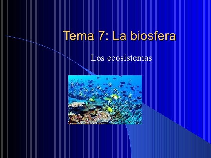 Tema 7: La biosfera Los ecosistemas