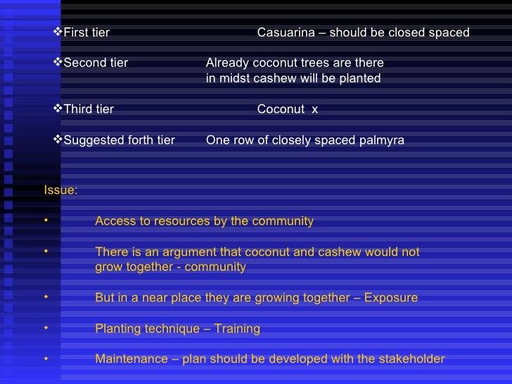 <ul><li>First tier Casuarina – should be closed spaced </li></ul><ul><li>Second tier Already coconut trees are there </li>...