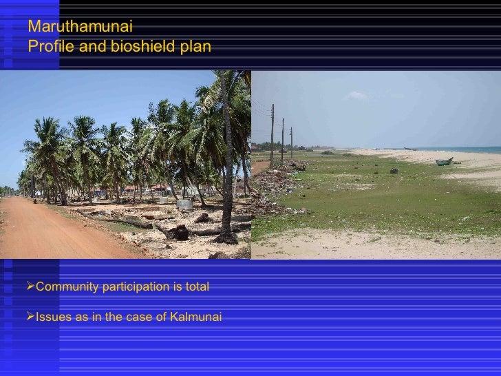 Maruthamunai Profile and bioshield plan <ul><li>Community participation is total </li></ul><ul><li>Issues as in the case o...