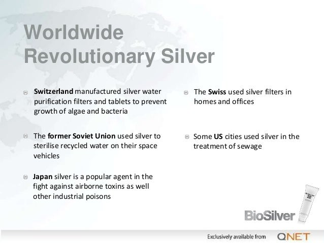 Worldwide Revolutionary Silver Switzerland manufactured silver water purification filters and tablets to prevent growth of...