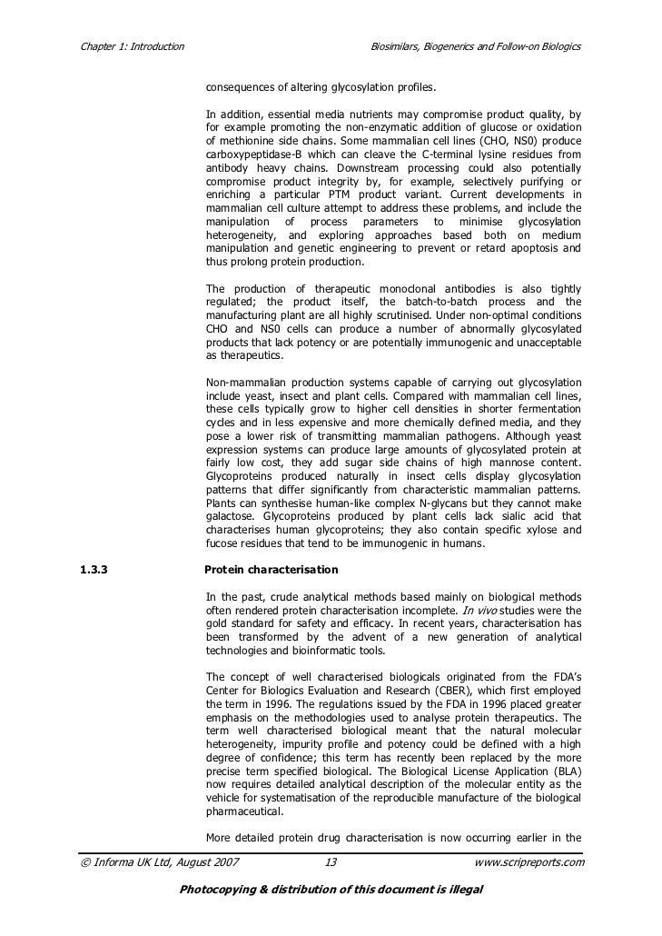Chapter 1: Introduction                                     Biosimilars, Biogenerics and Follow-on Biologics              ...
