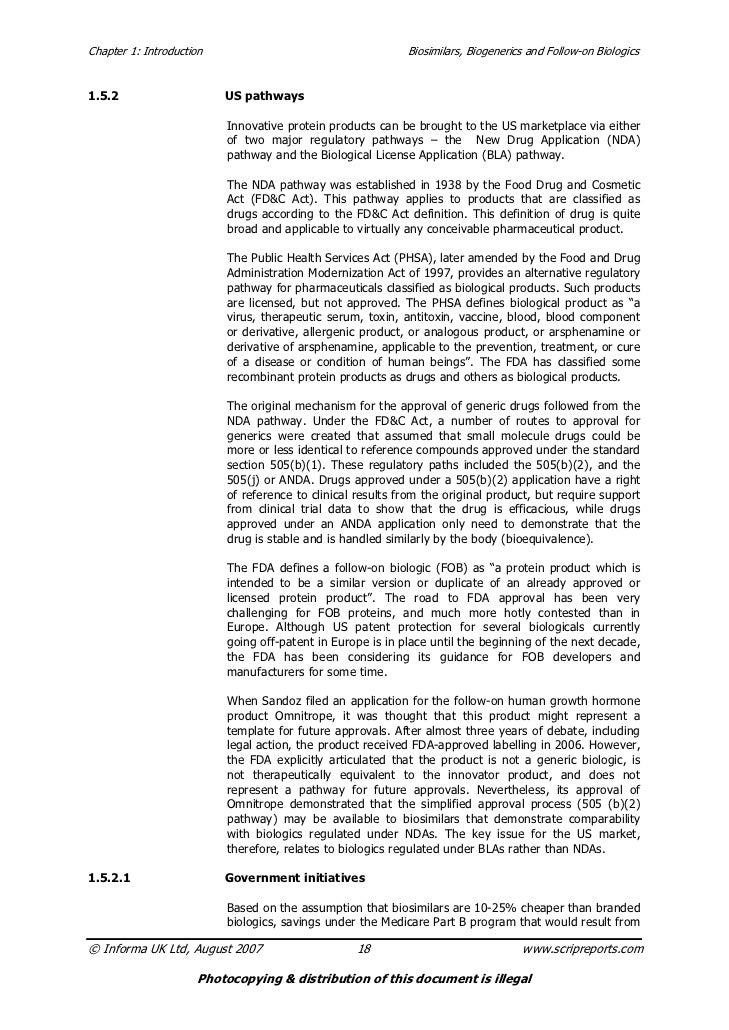 Chapter 1: Introduction                                     Biosimilars, Biogenerics and Follow-on Biologics1.5.2         ...