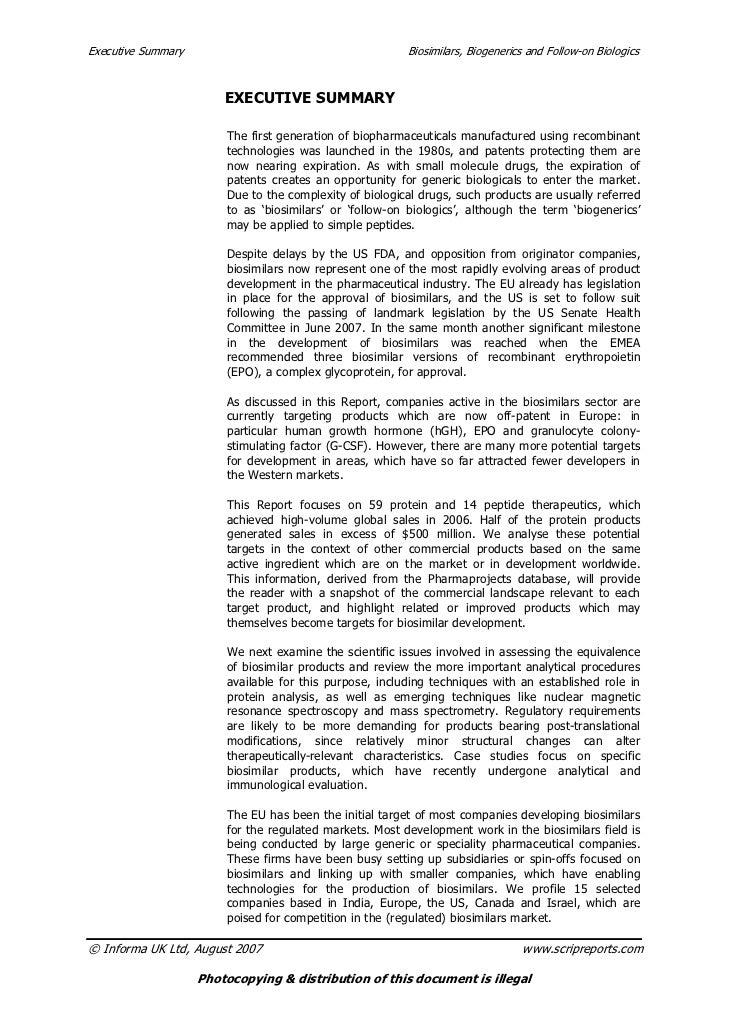 Executive Summary                                        Biosimilars, Biogenerics and Follow-on Biologics                 ...