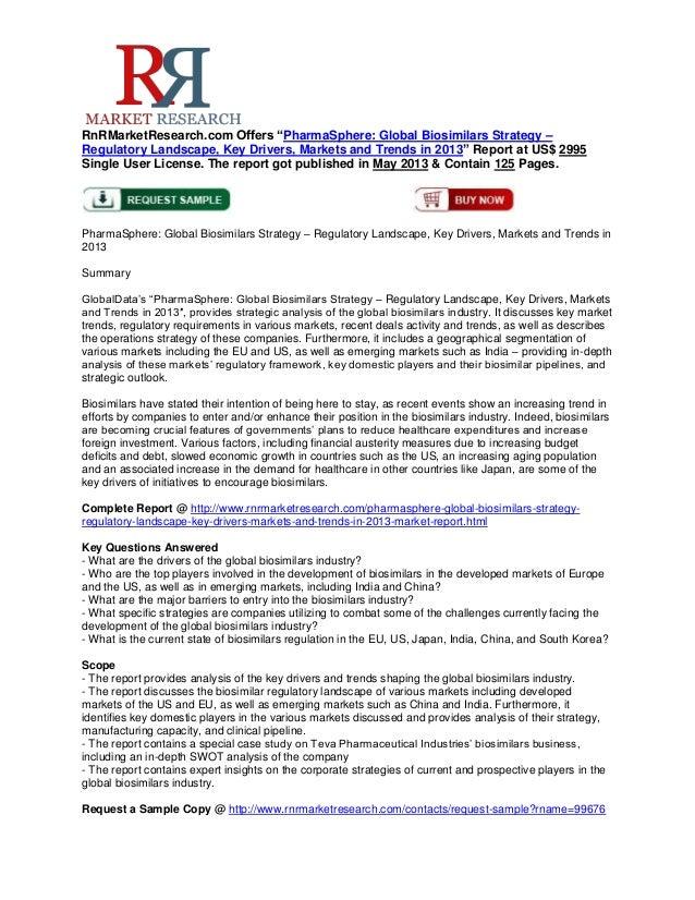 "RnRMarketResearch.com Offers ""PharmaSphere: Global Biosimilars Strategy –Regulatory Landscape, Key Drivers, Markets and Tr..."