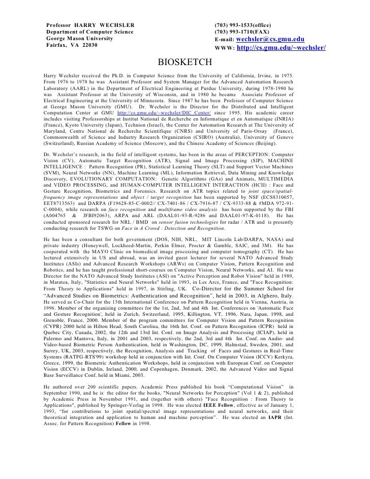 Professor HARRY WECHSLER                                                  (703) 993-1533(office)  Department of Computer S...