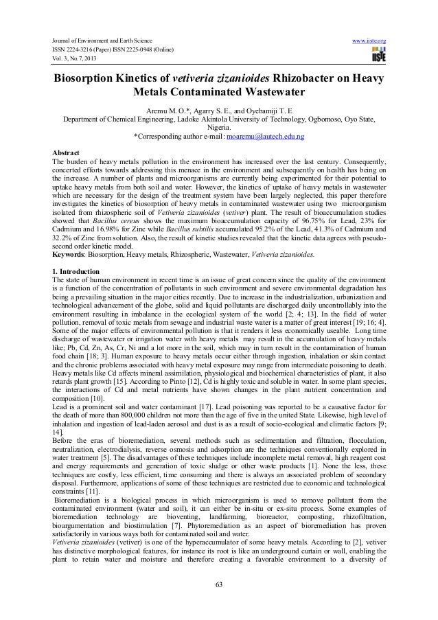 Journal of Environment and Earth Science www.iiste.org ISSN 2224-3216 (Paper) ISSN 2225-0948 (Online) Vol. 3, No.7, 2013 6...