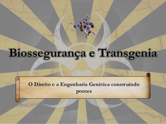 Biossegurança e Transgenia O Direito e a Engenharia Genética construindo pontes
