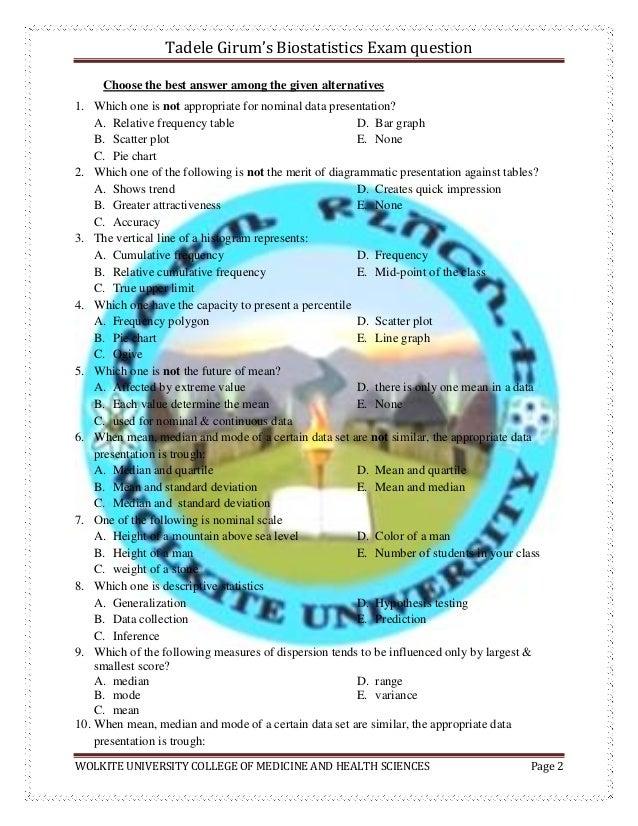 Biostatistics exam questions  by tadele girum Slide 2