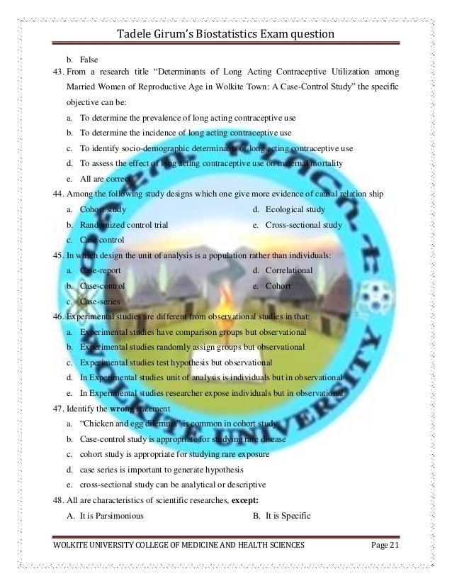 Biostatistics exam questions by tadele girum