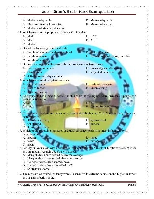 Biostatistics exam questions  by tadele girum Slide 3