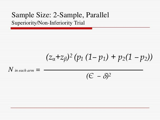 Sample size calculations for non-inferiority trial design based on.
