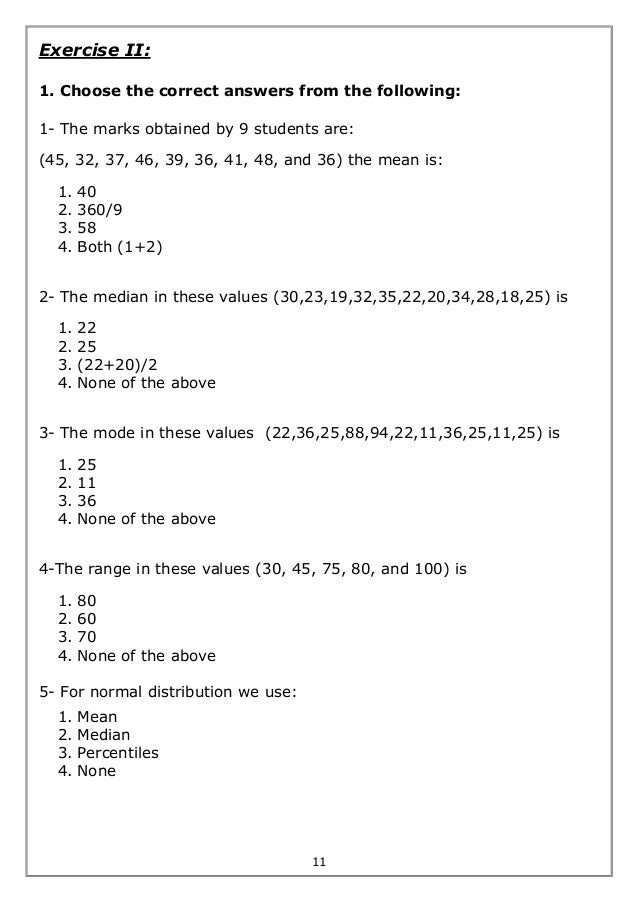 Biostatistics worksheet exercises