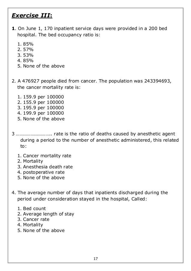 Biostatistics worksheet exercises – Cancer Worksheet
