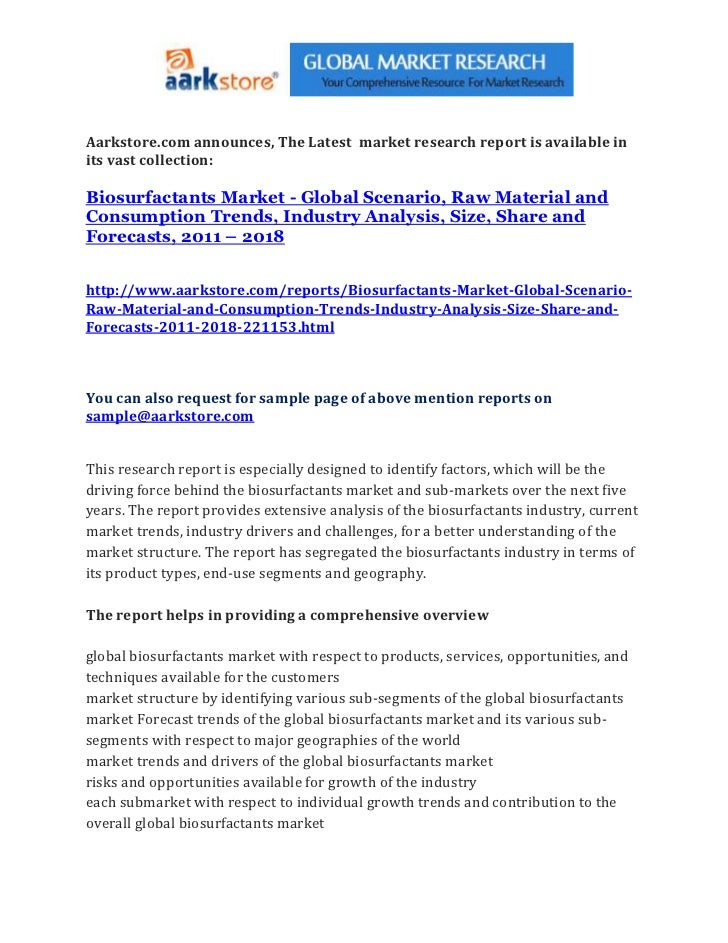 Aarkstore.com announces, The Latest market research report is available inits vast collection:Biosurfactants Market - Glob...