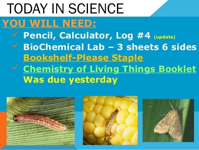 TODAY IN SCIENCE YOU WILL NEED:  Pencil, Calculator, Log #4 (update)  BioChemical Lab – 3 sheets 6 sides Bookshelf-Pleas...