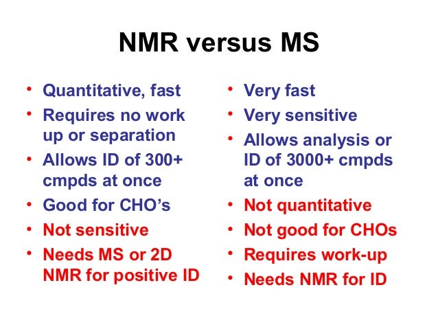 NMR versus MS • Quantitative, fast • Requires no work up or separation • Allows ID of 300+ cmpds at once • Good for CHO's ...