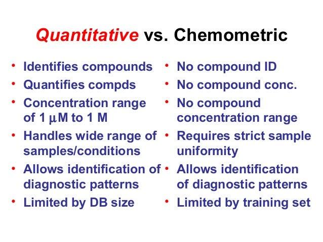 Quantitative vs. Chemometric • Identifies compounds • Quantifies compds • Concentration range of 1 µM to 1 M • Handles wid...