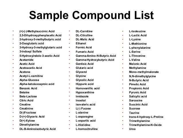 Sample Compound List • (+)-(-)-Methylsuccinic Acid • 2,5-Dihydroxyphenylacetic Acid • 2-hydroxy-3-methylbutyric acid • 2-O...