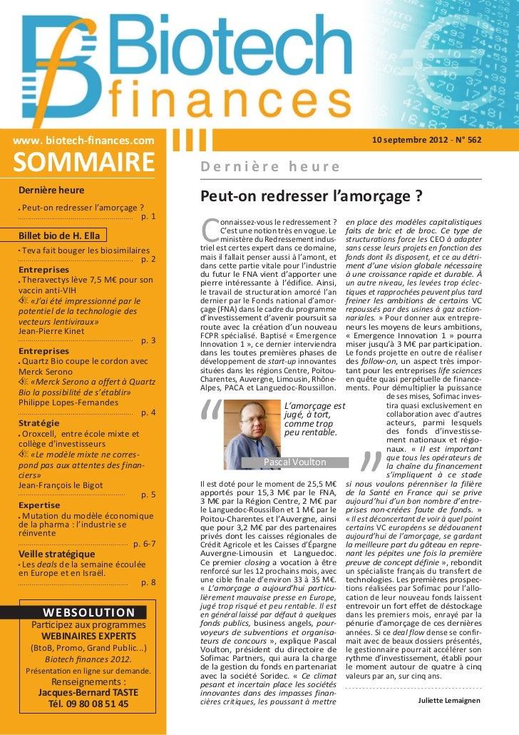 www. biotech-finances.com                                                                   10 septembre 2012 - N° 562SOMM...